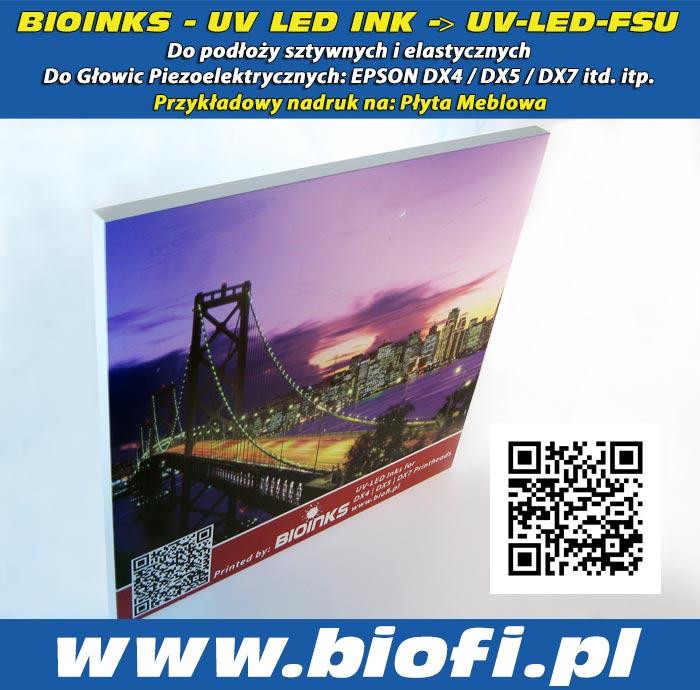 BIOINKS: UV LED INK do Głowic Drukujących DX4 / DX5 / DX7 / Konica - Przykładowy Nadruk na Płytach Meblowych