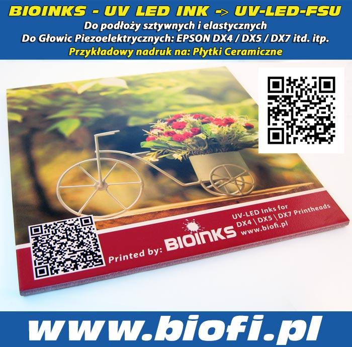 BIOINKS: UV LED INK do Głowic Drukujących DX4 / DX5 / DX7 / Konica - Przykładowy Nadruk na Ceramice, Płytki Ceramiczne