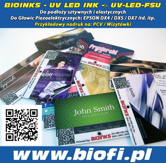 BIOINKS: UV LED INK do Głowic Drukujących DX4 / DX5 / DX7 / Konica - Przykładowy Nadruk na płytach PCV, Wizytówki PCV