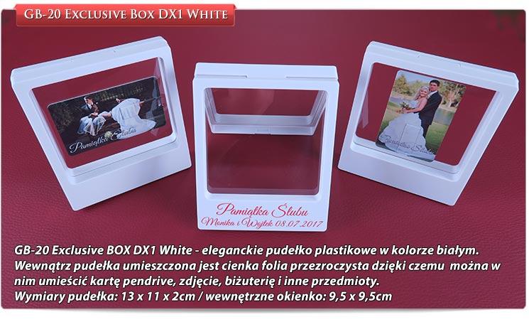 GB-20 Exclusive BOX DX1 White - eleganckie pudełko plastikowe w kolorze białym. Wewnątrz pudełka umieszczona jest cienka folia przezroczysta dzięki czemu można w nim umieścić kartę pendrive, zdjęcie, biżuterię i inne przedmioty.