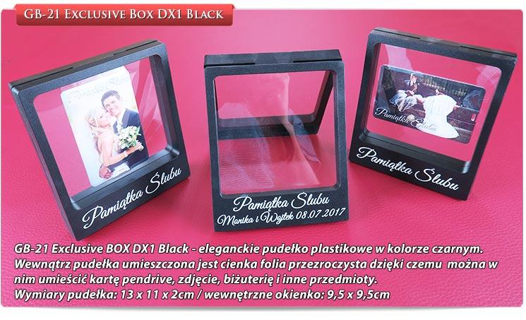 GB-21 Exclusive BOX DX1 Black - eleganckie pudełko plastikowe w kolorze czarnym.Wewnątrz pudełka umieszczona jest cienka folia przezroczysta dzięki czemu można w nim umieścić kartę pendrive, zdjęcie, biżuterię i inne przedmioty.
