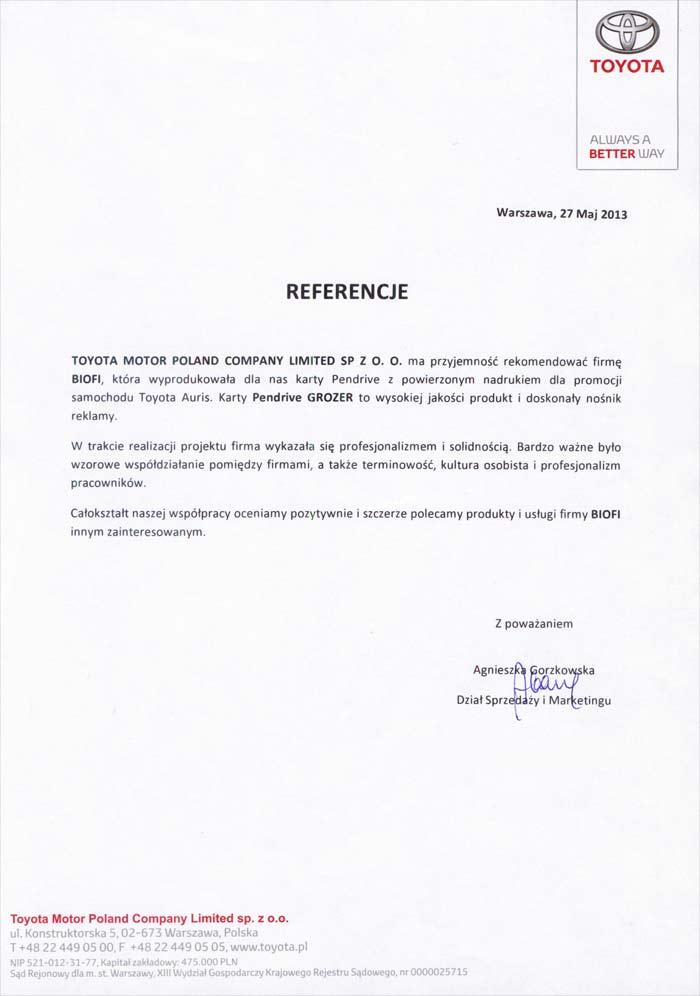 Referencje od Firmy Toyota Motor Poland dla firmy Biofi