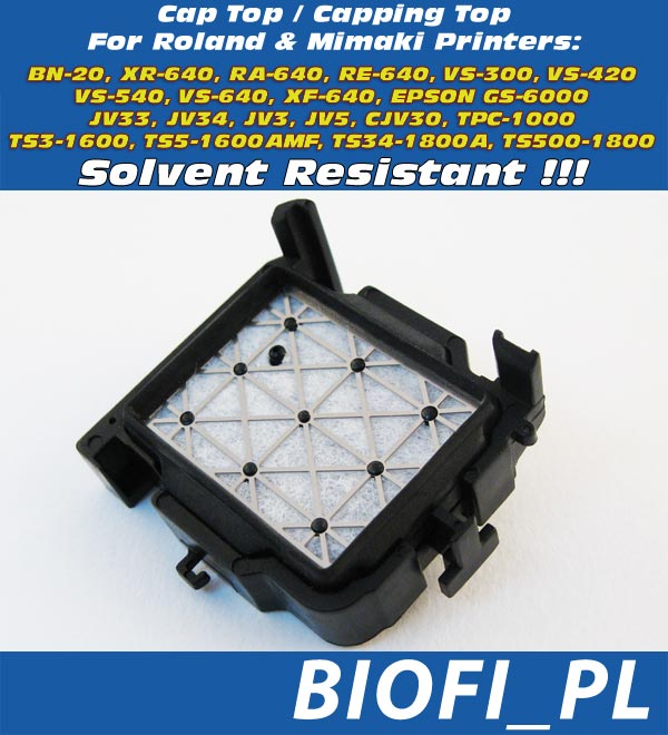 Cap Top / Capping Top do drukarek Roland: 1BN-20, XR-640, RA-640, RE-640, VS-300, VS-420, VS-540, VS-640, XF-640, Mimaki: JV33-130, JV33-160, JV33-260, JV33-130BS, JV33-160BS, JV34-260, JV3-260BS, JV5-130S, JV5-160S, JV5-260S, JV5-320S, JV5-320DS, CJV30-60, CJV30-100, CJV30-130, CJV30-160, CJV30-60BS, CJV30-100BS, CJV30-130BS, CJV30-160BS, TPC-1000, TS3-1600, TS5-1600AMF, TS34-1800A, TS500-1800, Epson GS6000
