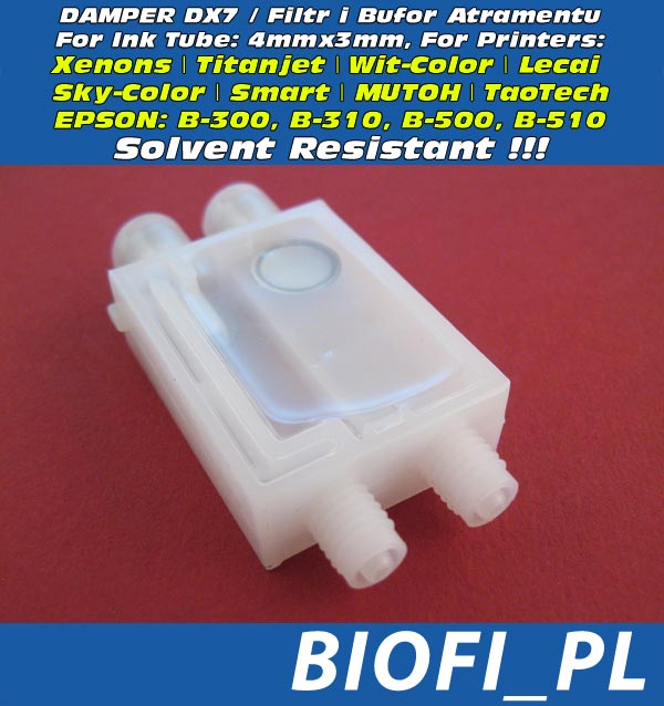 Damper do Głowicy DX7 - do drukarek EPSON Business Color Inkjet Printer: B-300M, B-310, B-500, B510 oraz do Xenons, Titanjet, Wit-Color, Lecai, Sky-Color, Smart, MUTOH, TaoTech - Odporny na Solvent / Solvent Resistant