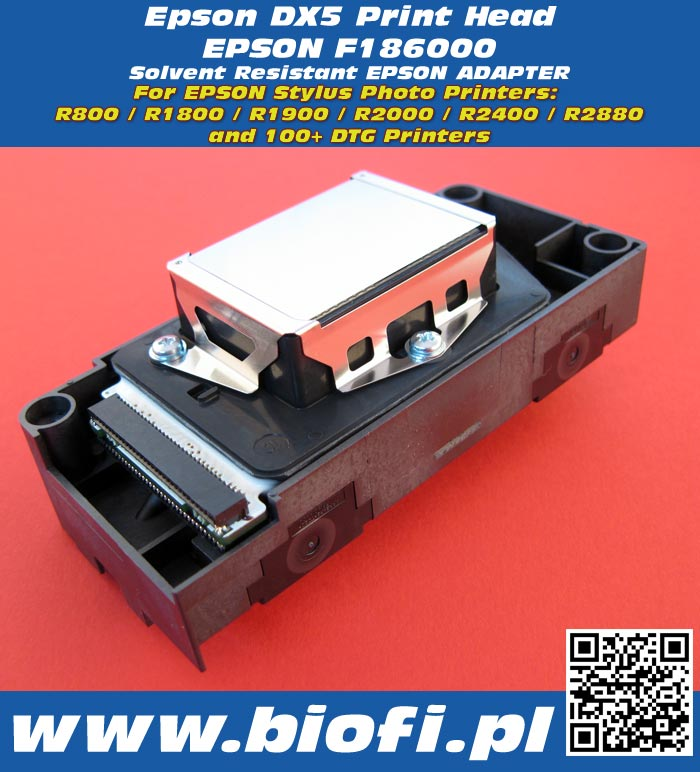 EPSON Printhead DX5 F186000 for Epson Stylus Photo R800 / R1800 / R1900 / R2000 / R2400 / R2880 and hundreds of DTG Printers
