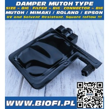 Damper MUTOH TYPE - SIZE = BIG, FILTER = BIG, CONNECTOR = BIG, INFLOW=SQUARE, UV + Solvent Resistant
