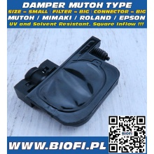 Damper MUTOH TYPE - SIZE = SMALL, FILTER = BIG, CONNECTOR = BIG, INFLOW=SQUARE, UV + Solvent Resistant