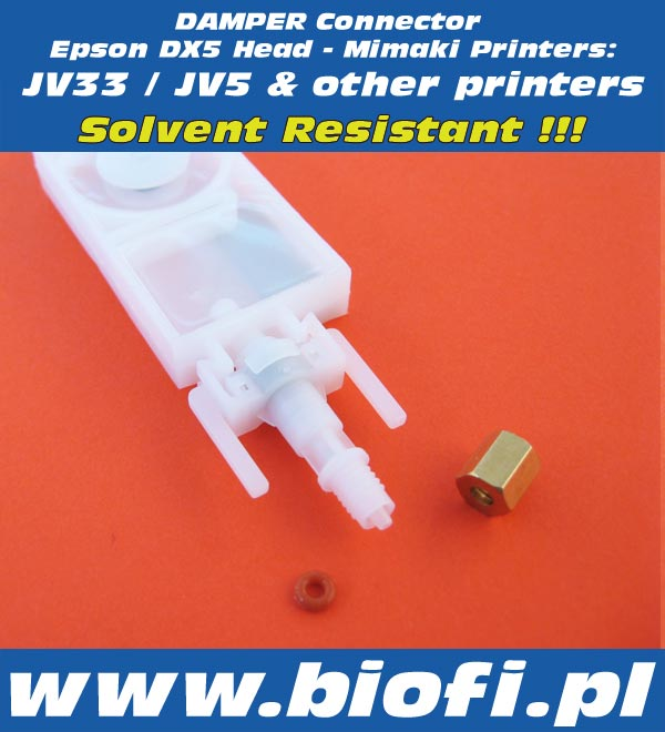 Damper Connector Mimaki JV33 / JV5 , Roland, Mutoh and other Printers | Solvent Resistant